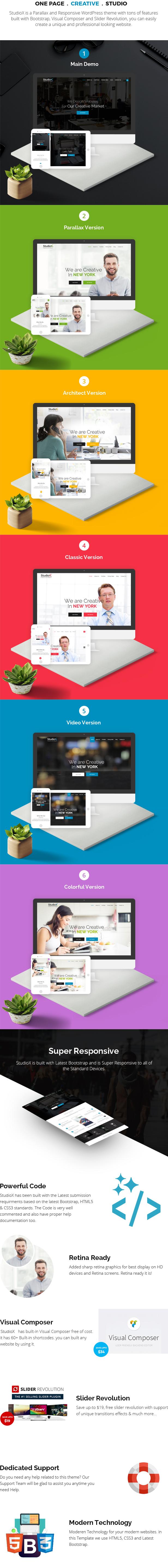 StudioX - One Page WordPress - 3